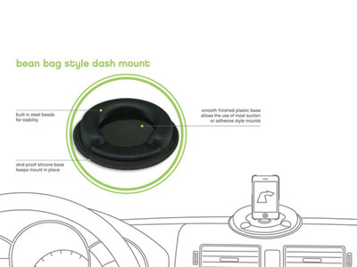 Bean bag style non-slip friction dash mount
