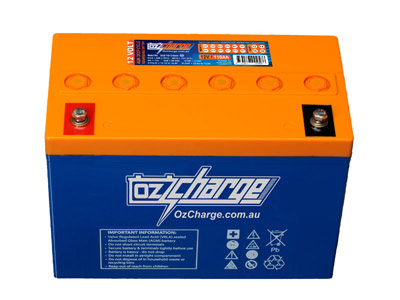 Oz Charge 12V 110Ah V0 High Temp rated AGM Deep Cycle Battery