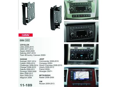 2-DIN Car Audio Installation Kit for CRYSLER (300)2008-10; (200) 2011+; Aspen 2008-09; Sebring 2007