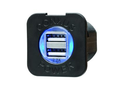 Conxus Flushmount 1-Twin USB BLACK with L.E.D.