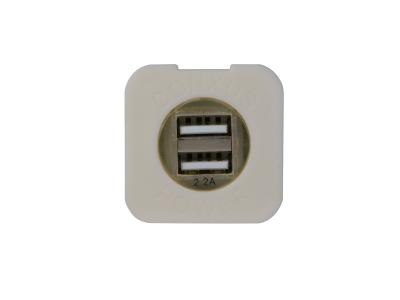 Conxus Flushmount plate 1-Twin USB WHITE with L.E.D.