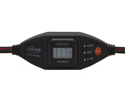 Conxus Inline - Low Voltage Disconnect and Digital Volt Meter BLACK