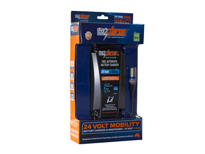 OzCharge 24 Volt 4 Amp Mobility Battery Charger - 3 Pin XLR