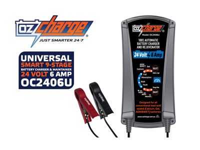 OzCharge 24 Volt 6 Amp 9-Stage Battery Charger & Maintainer