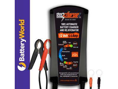 OzCharge 12 Volt 6A -  9-Stage Battery Charger & Maintainer