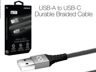 USB-A to USB-C 2.0 Charge/Sync Cable 4Ft Braided