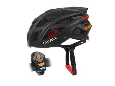Livall Black Road Bike helmet with Safety Lights, Bluetooth & Speakers Inc. BJ100 Bling Jet control