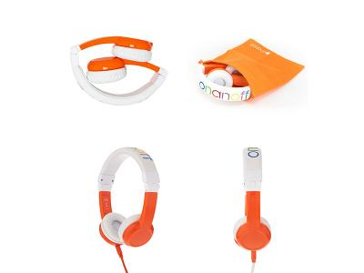 BuddyPhones Explore With Mic Orange Foldable