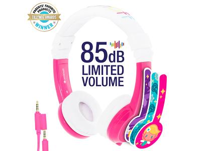BuddyPhones Explore With Mic Pink Foldable
